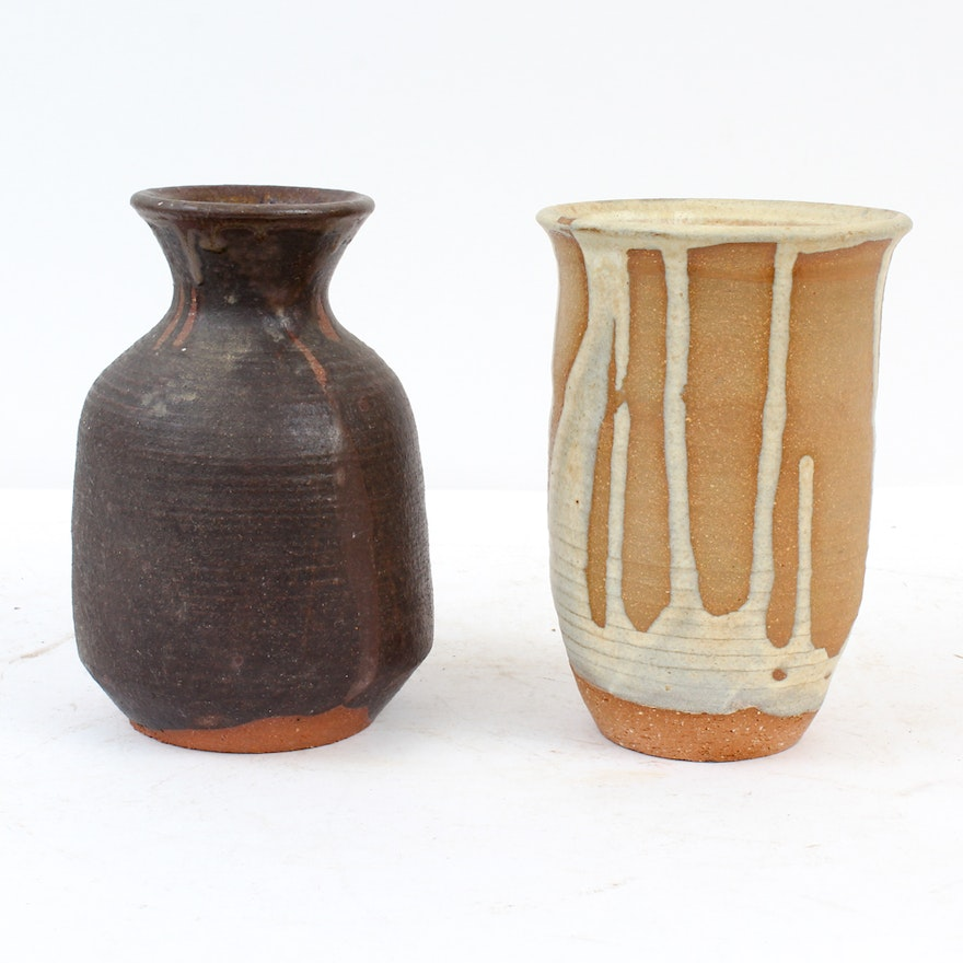 Signed Hand Thrown Earthenware Vases Ebth