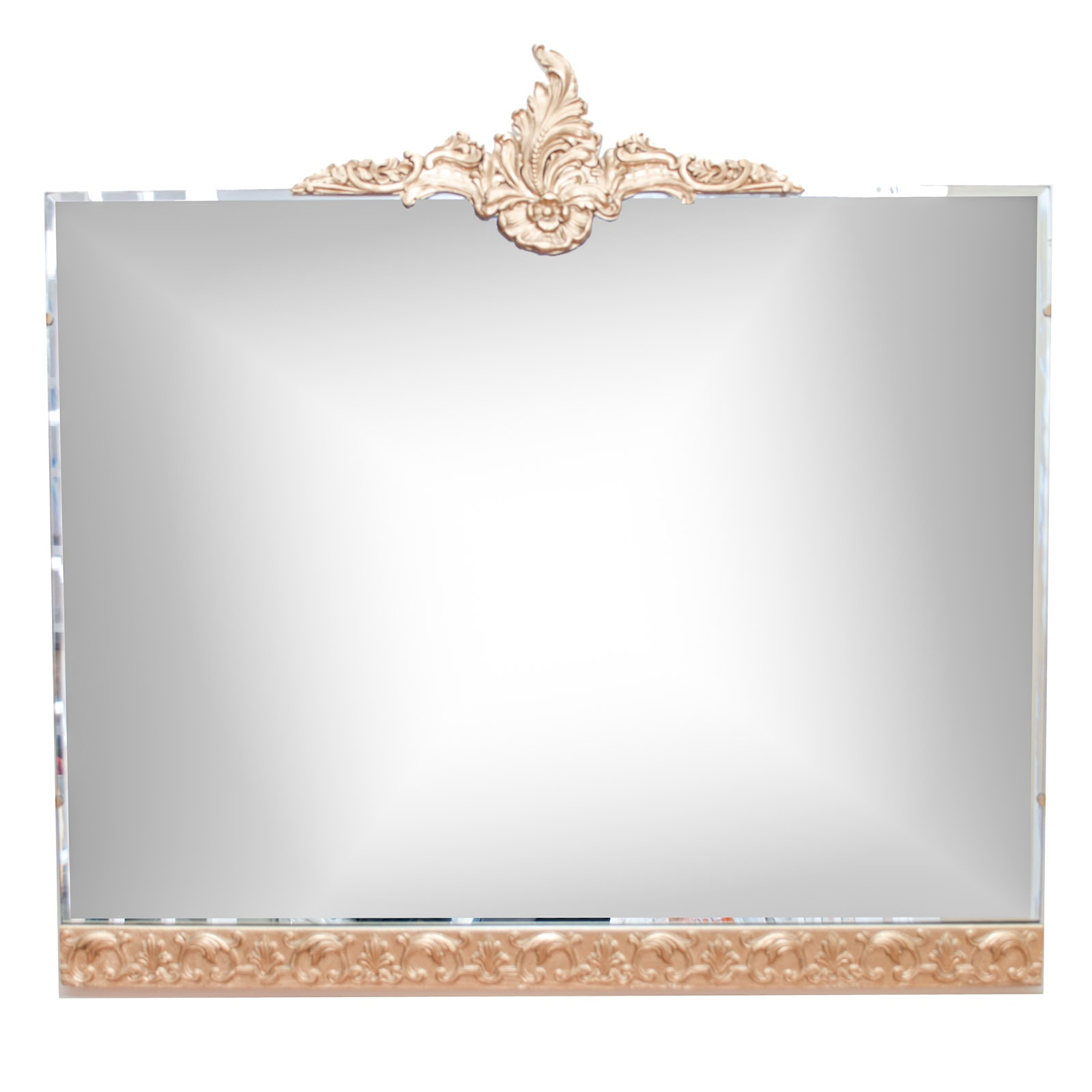 Gold-Toned Floral and Leaf Wall Mirror