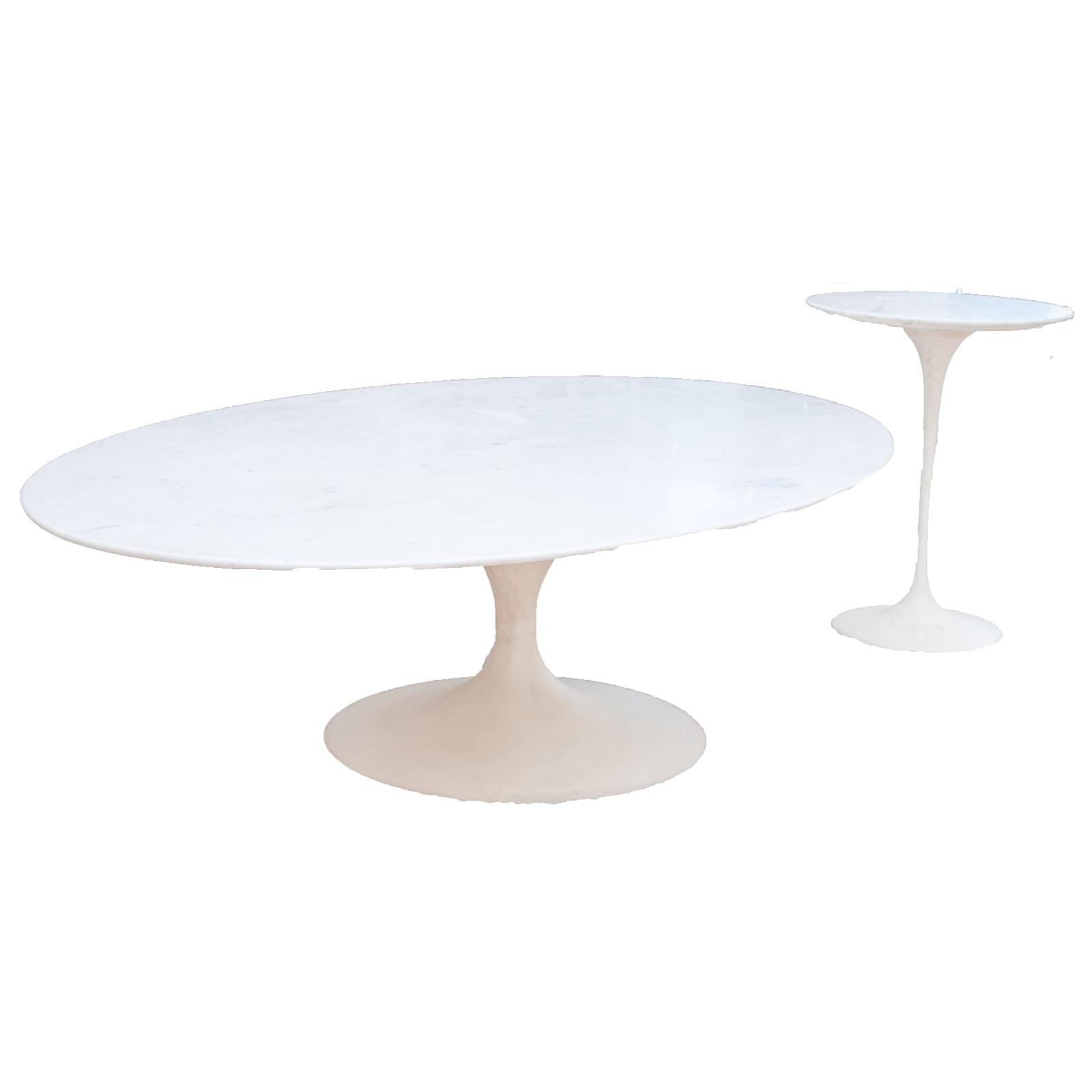 "Eero Saarinen Marble ""Tulip"" Coffee Table & Side Table by Knoll"