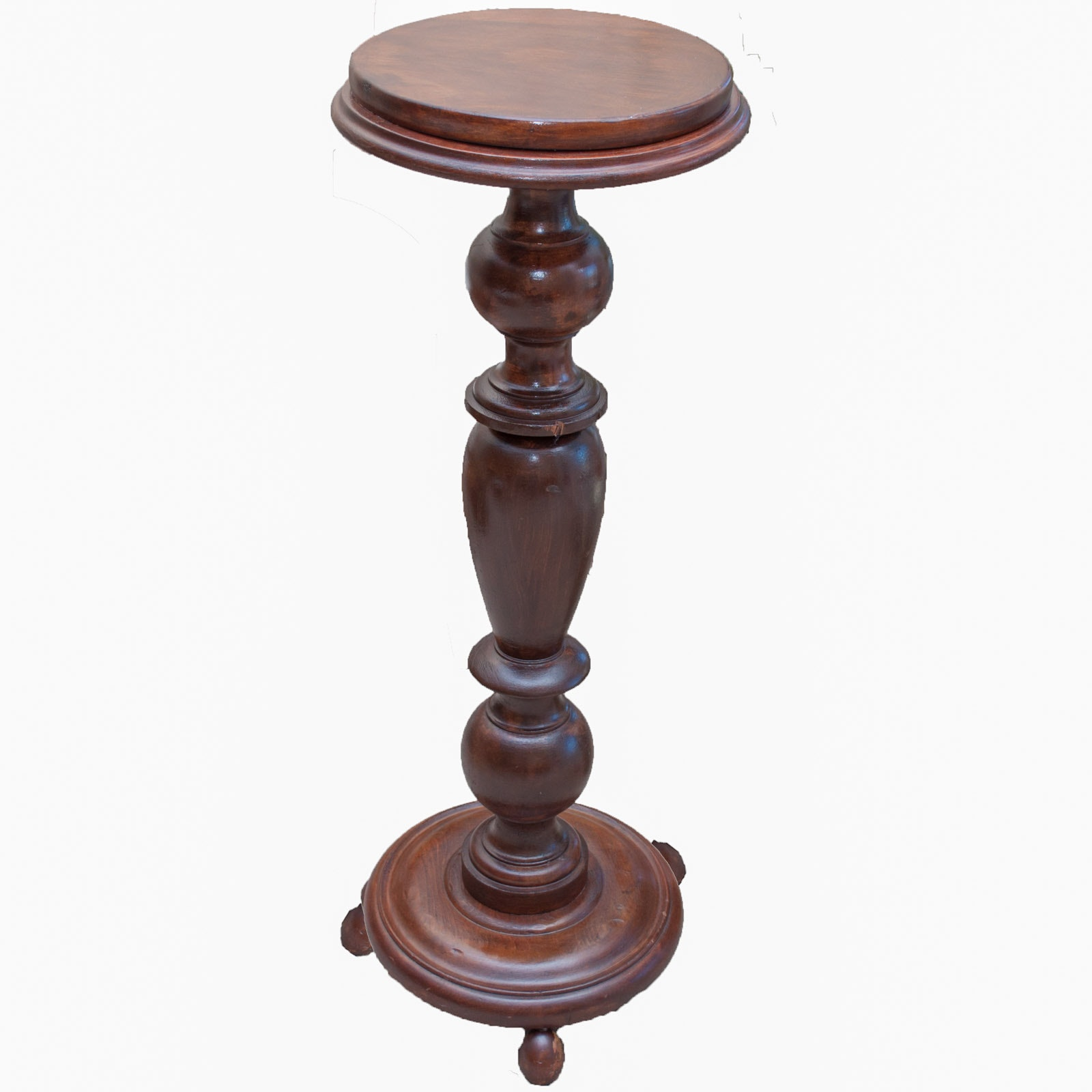 Antique Tall Turned Wood Pedestal