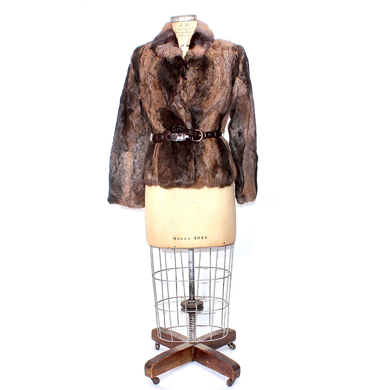 Women's Vintage Brown Rabbit Fur Coat