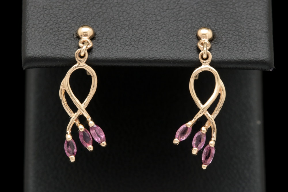 14K Yellow Gold and Ruby Dangle Earrings