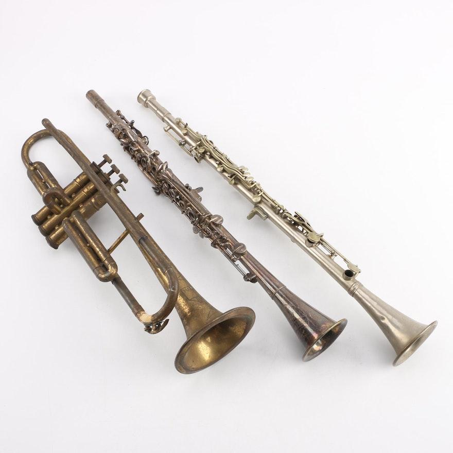 Vintage Pedler Trumpet, Cavalier Clarinet, and American Leader Clarinet