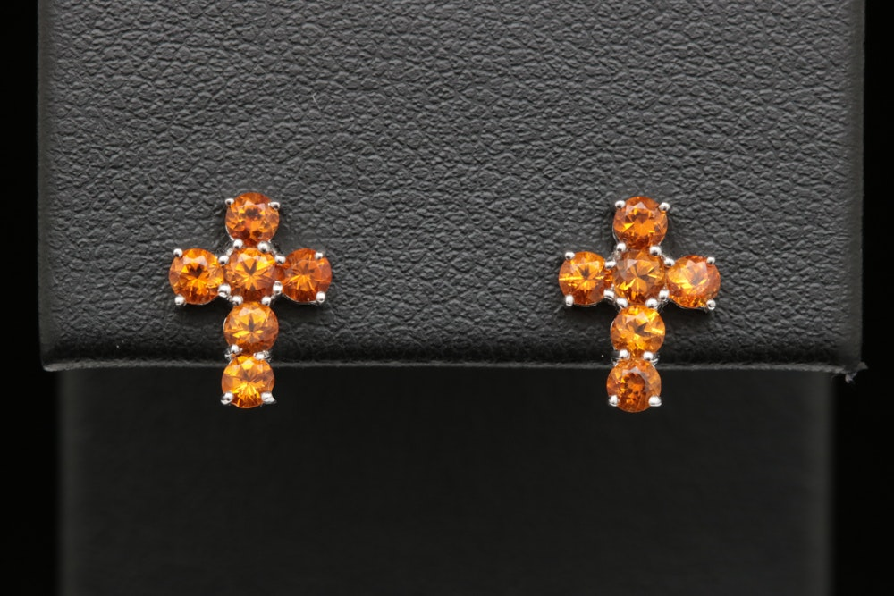 10K White Gold and Citrine Cross Earrings