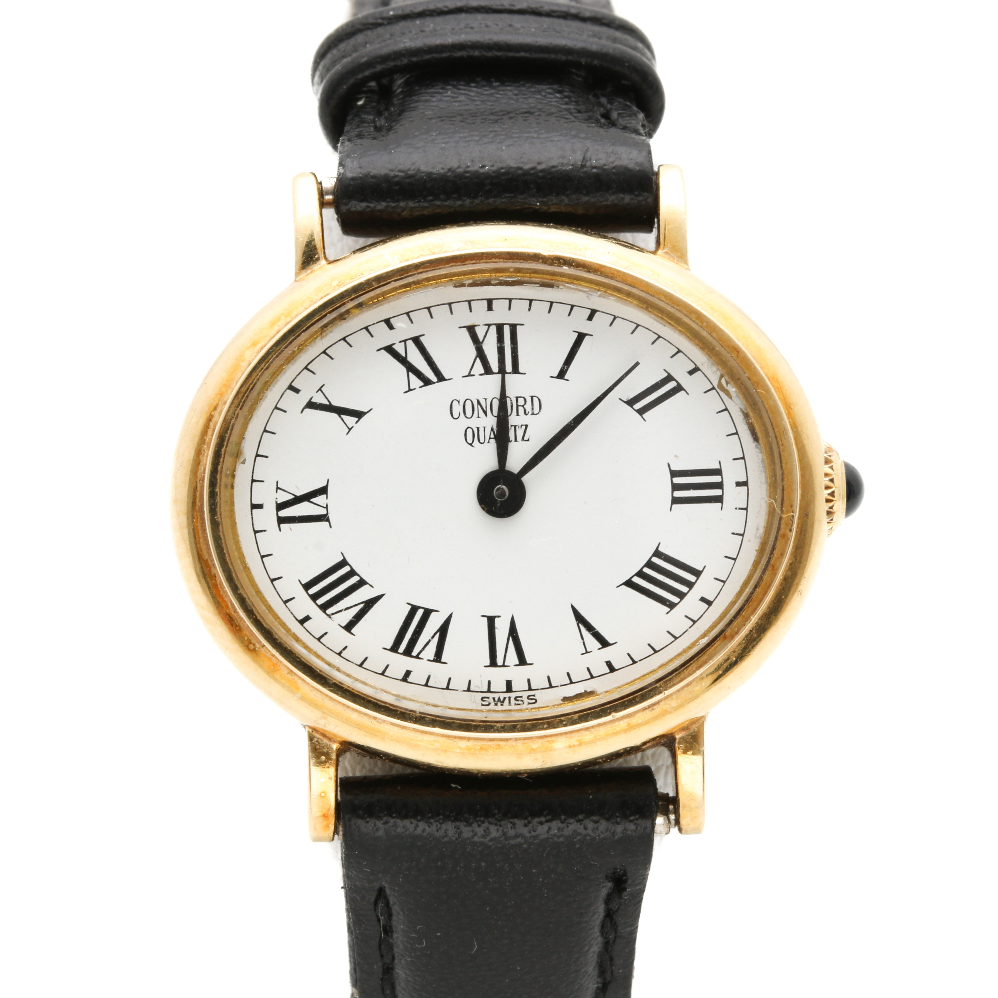 Concord Quartz 14K Yellow Gold Wristwatch With Leather Band