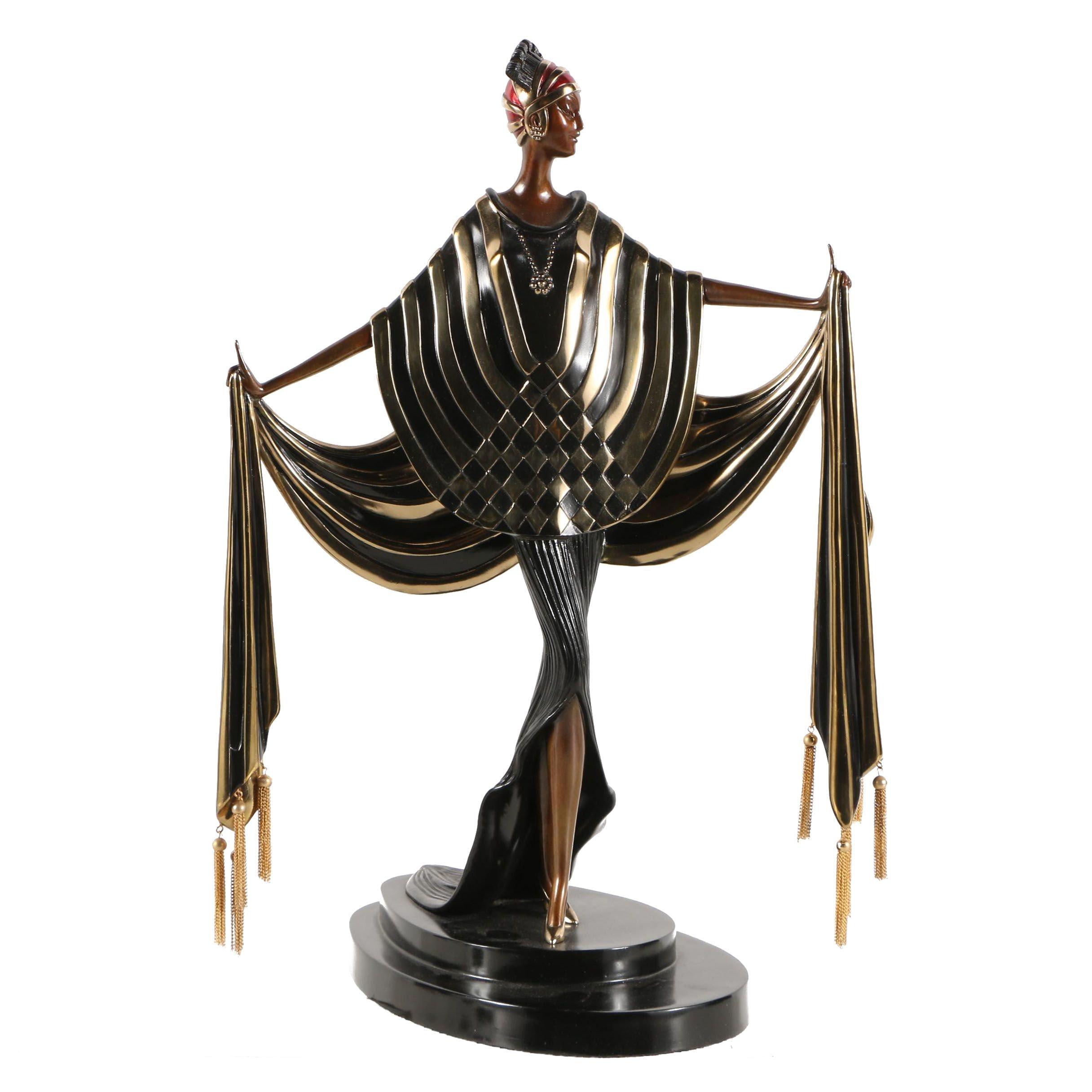"Erté Patinated Bronze Sculpture ""Opening Night"""