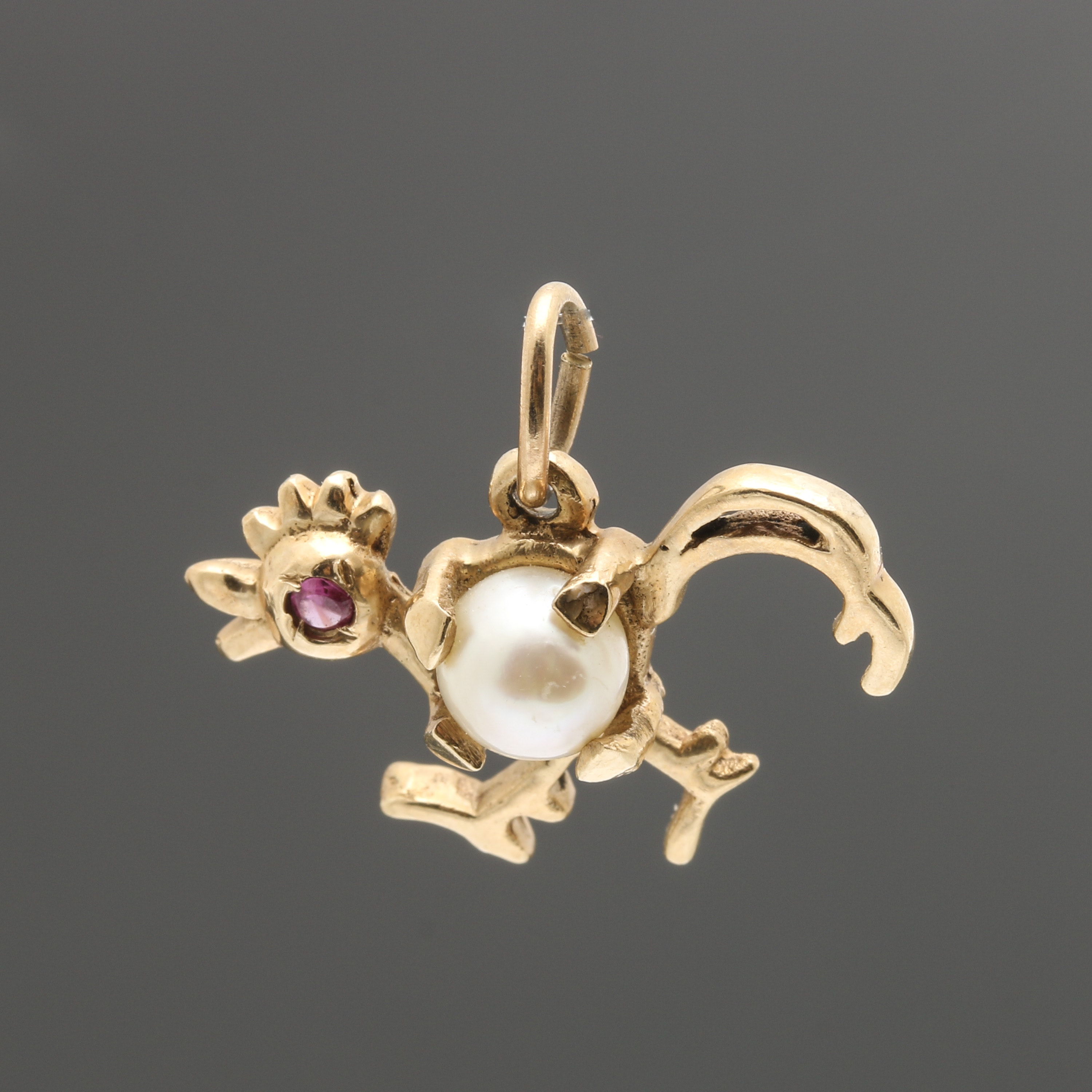 14K Yellow Gold Cultured Pearl and Ruby Rooster Pendant