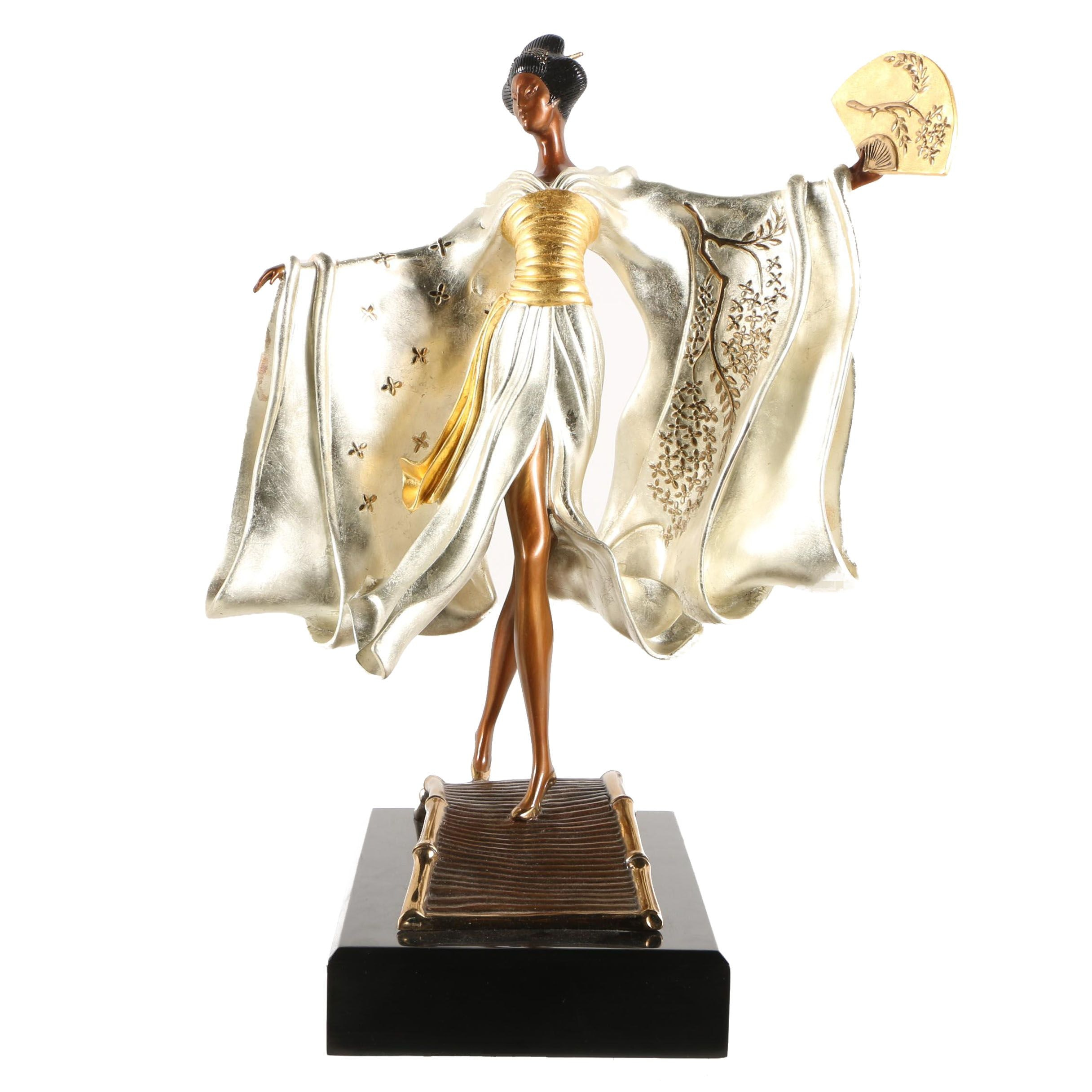 """Erté Patinated Bronze Sculpture """"Asian Princess"""""""