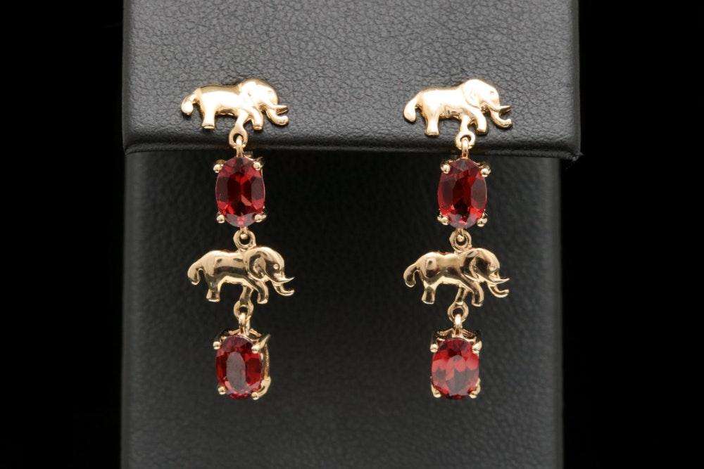 10K Yellow Gold and Garnet Elephant Dangle Earrings