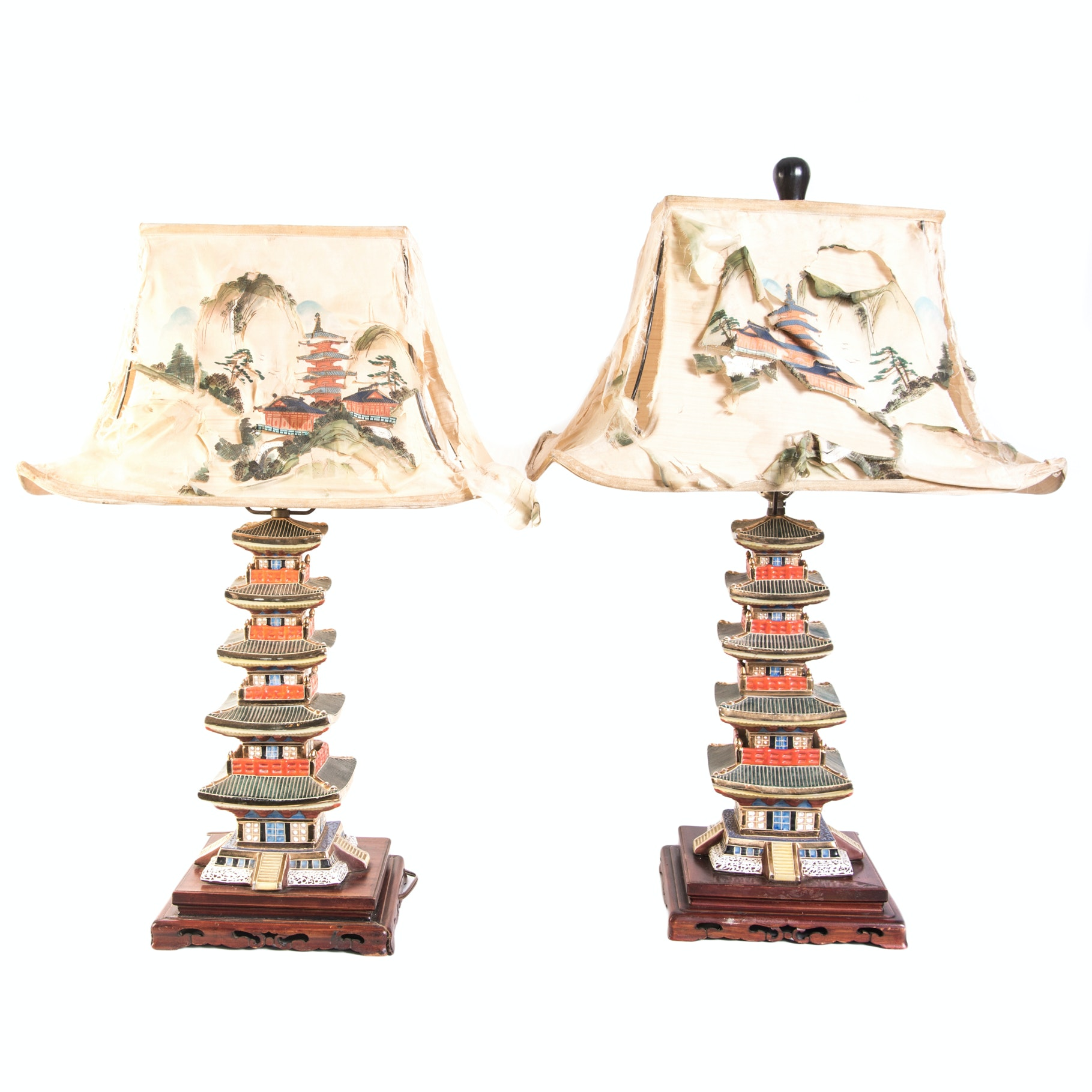 Antique Chinoiserie Stacked Pagoda Lamps