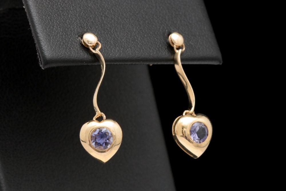 10K Yellow Gold and Iolite Dangle Heart Earrings