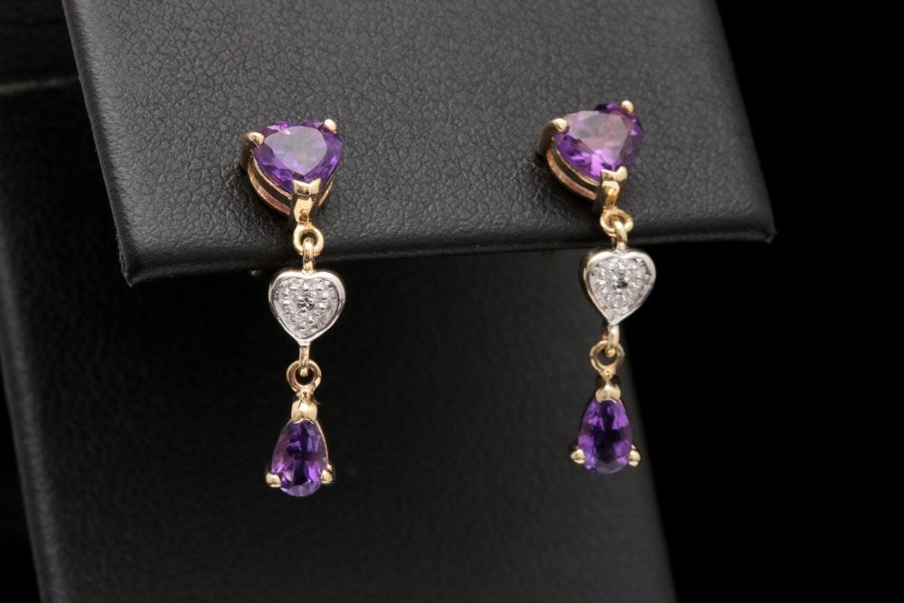 10K Yellow Gold, Amethyst and Diamond Dangle Earrings
