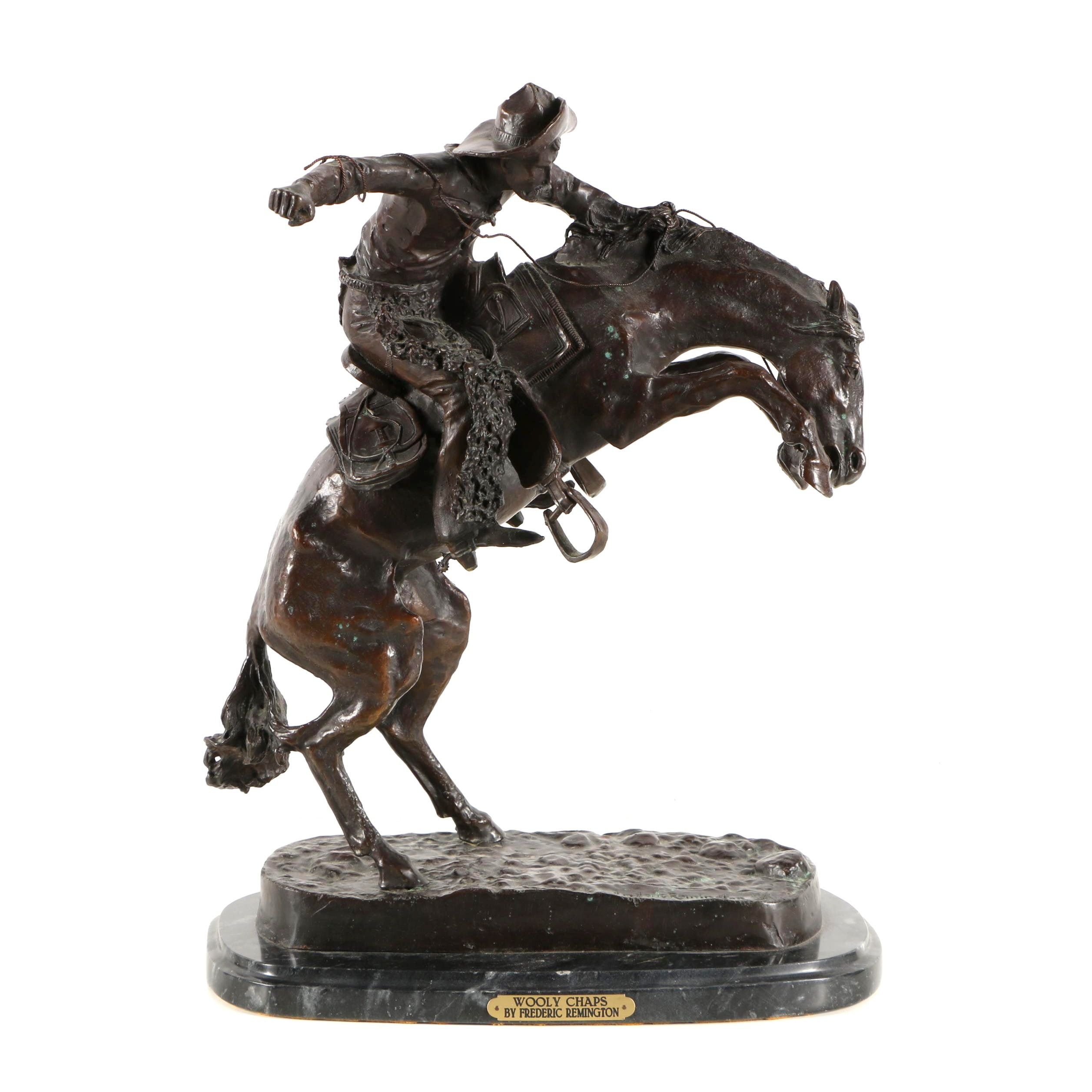 """Limited Edition Brass Sculpture After Frederic Remington's """"Wooly Chaps"""""""