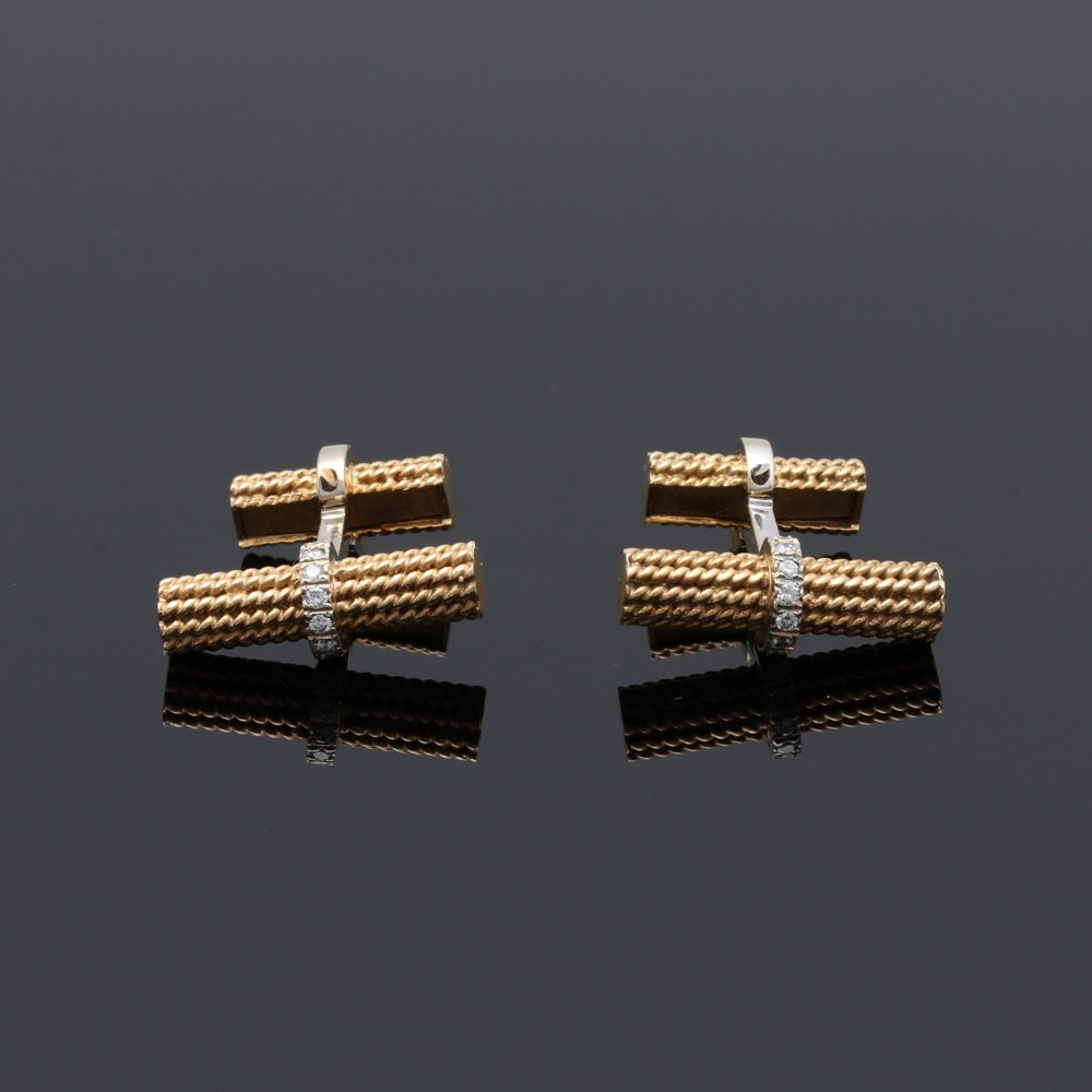 14K Yellow Gold Diamond Cufflinks With White Gold Accents