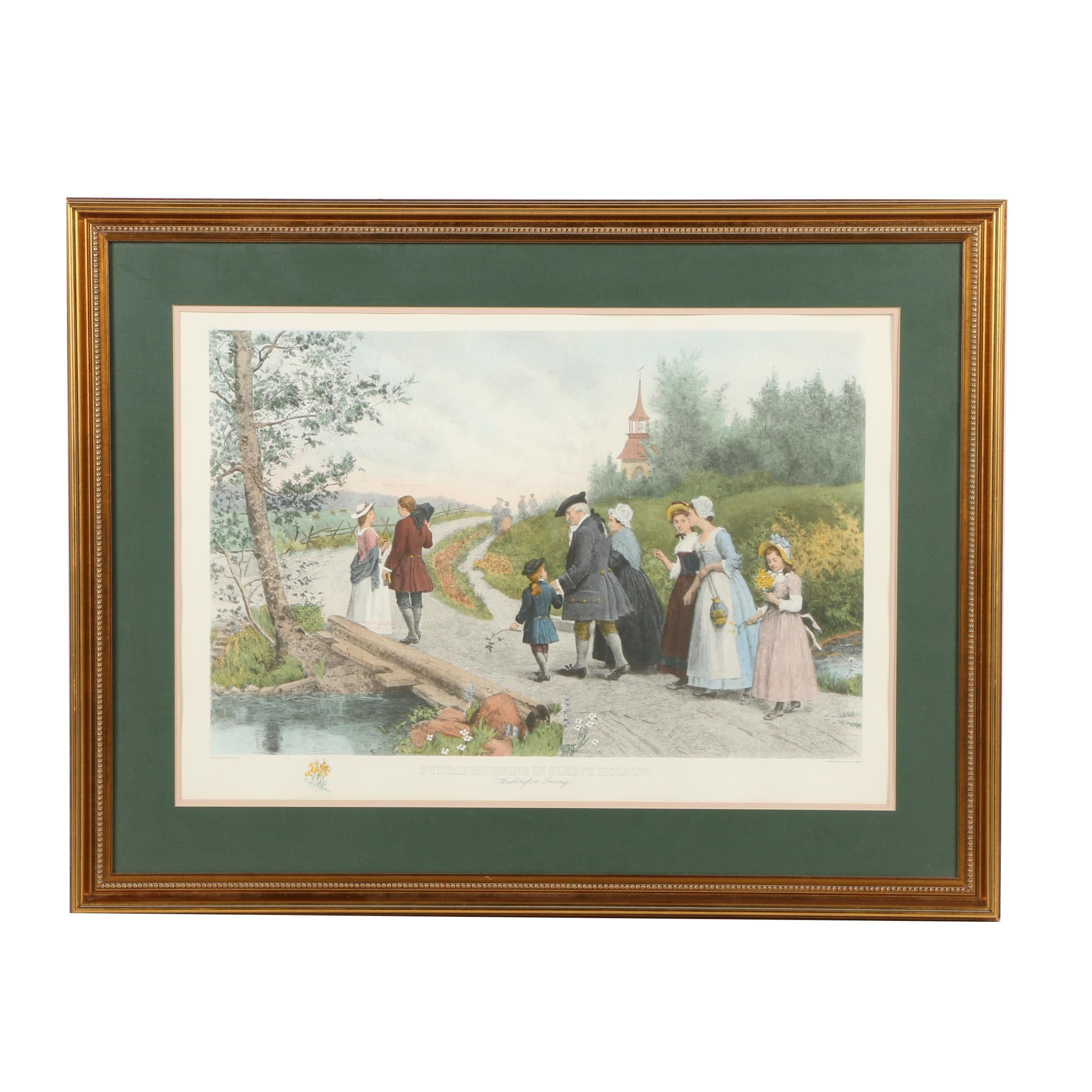 "Hand-Colored Reproduction Print After Etching ""Sunday Morning in Sleepy Hollow"""