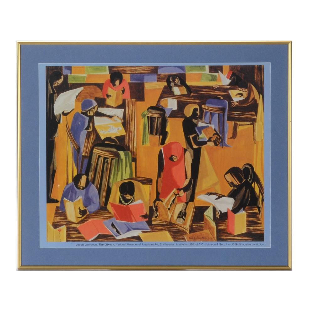 """Jacob Lawrence Offset Lithograph Print After """"The Library"""""""