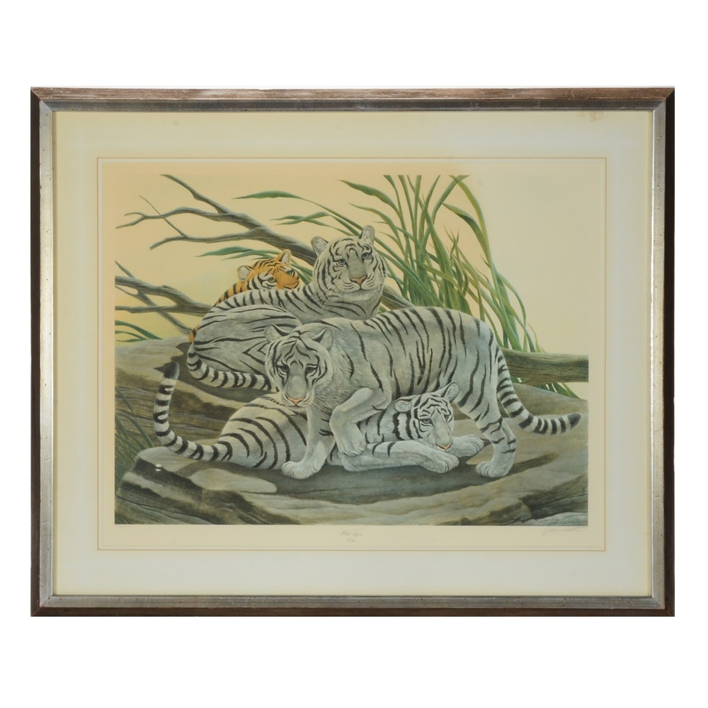 "John Ruthven Limited Edition Offset Lithograph ""White Tiger"""