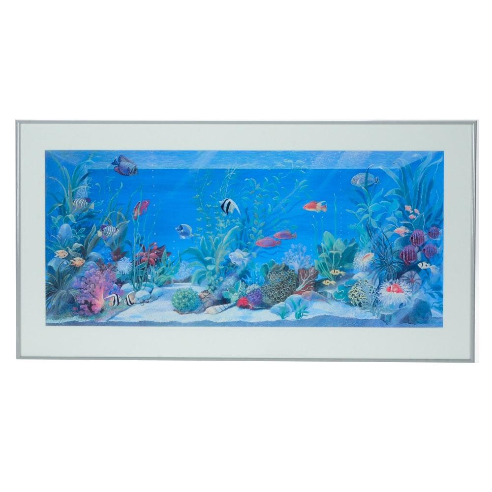 Offset Lithograph after Isabella Cuccato of Fish Aquarium