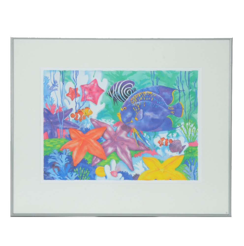 Offset Lithograph on Paper after Paul Brent Watercolor Undersea Painting