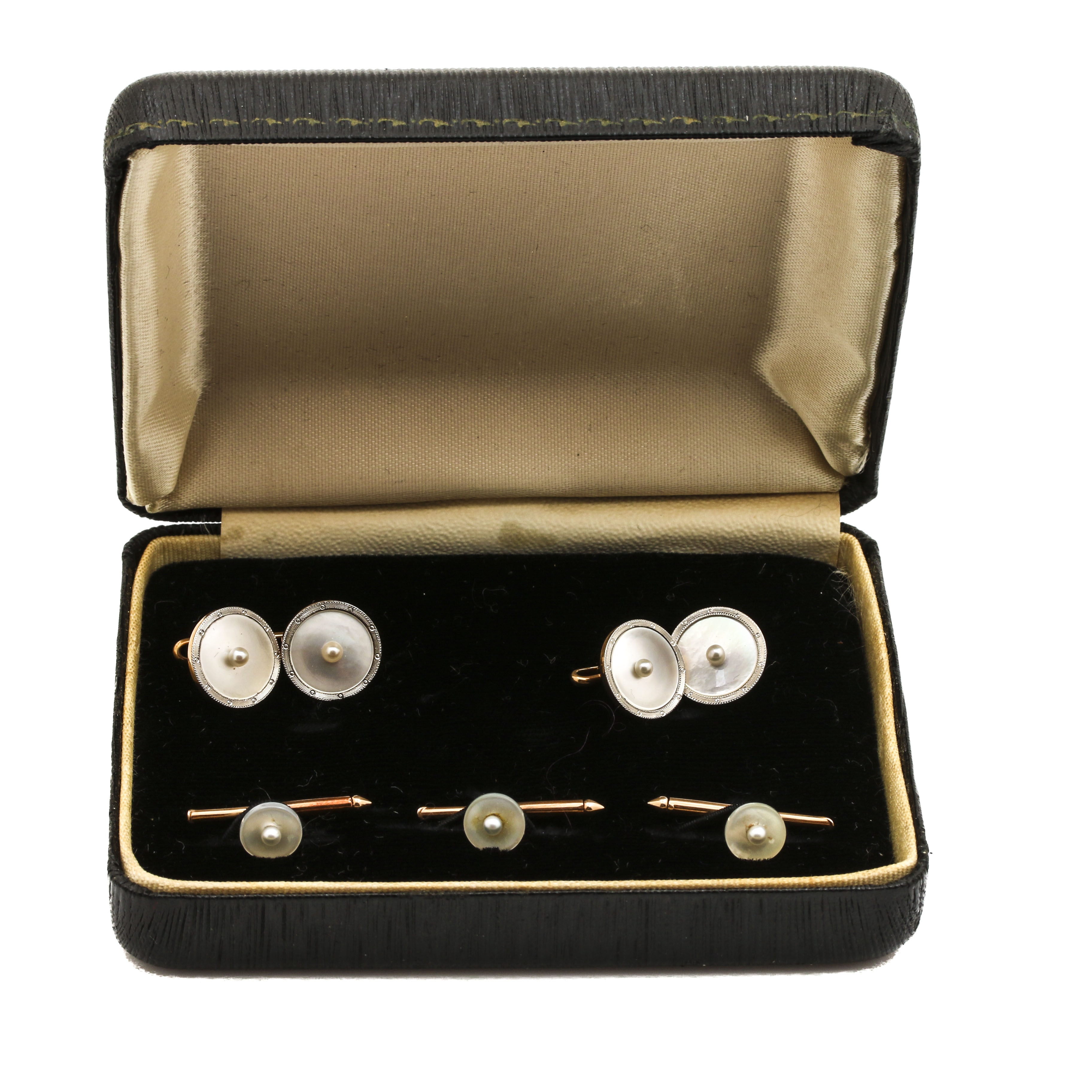 Platinum and 14K Yellow Gold Seed Pearl and Mother of Pearl Tuxedo Set