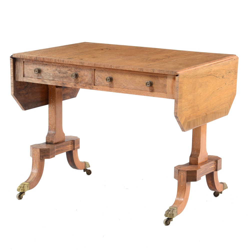 Vintage Regency Style Rosewood Drop-Leaf Sofa Table