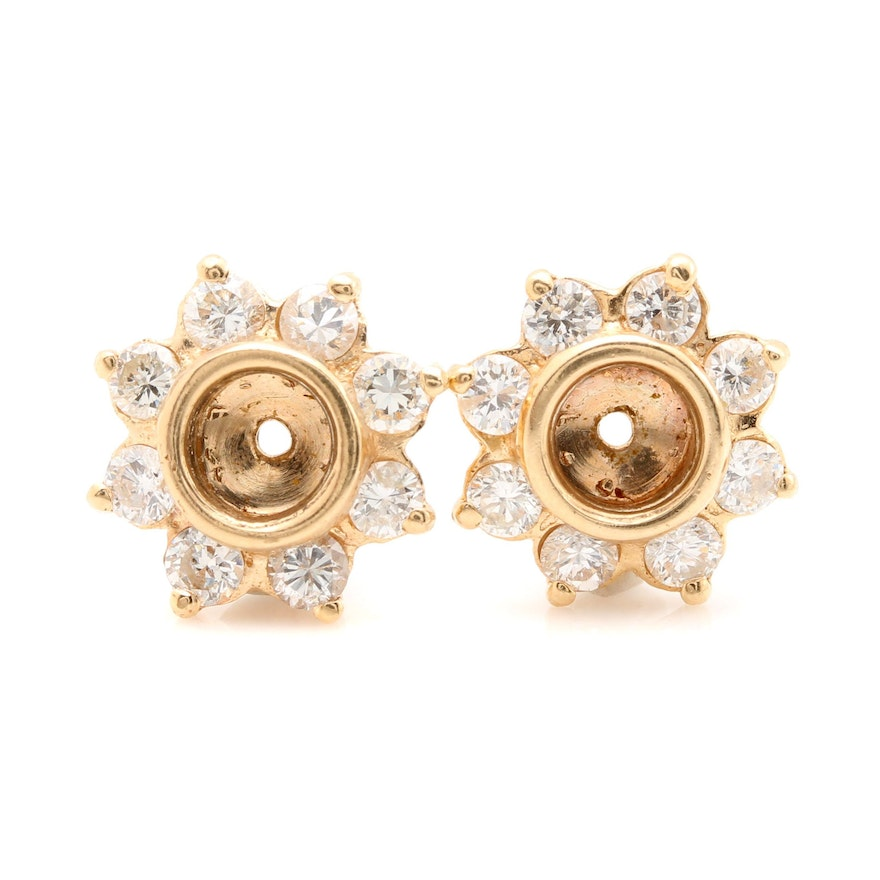 14k Yellow Gold 0 96 Ctw Diamond Fl Earring Jackets