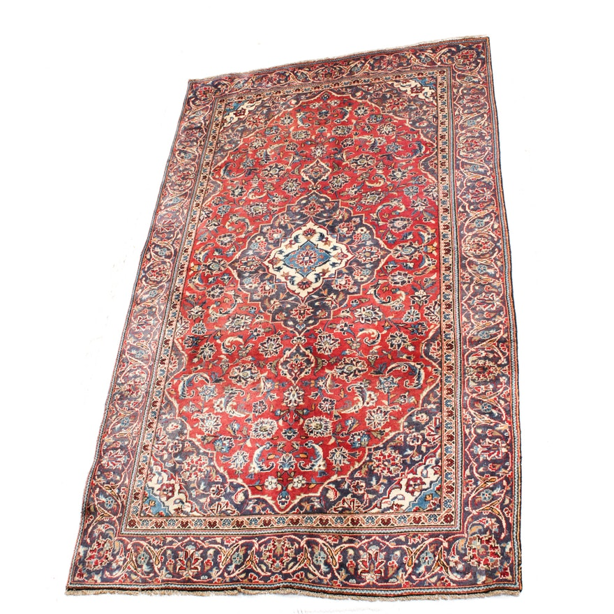 Hand Knotted Persian Kashan Wool Area Rug Ebth: Semi-Antique Hand-Knotted Persian Kashan Area Rug : EBTH