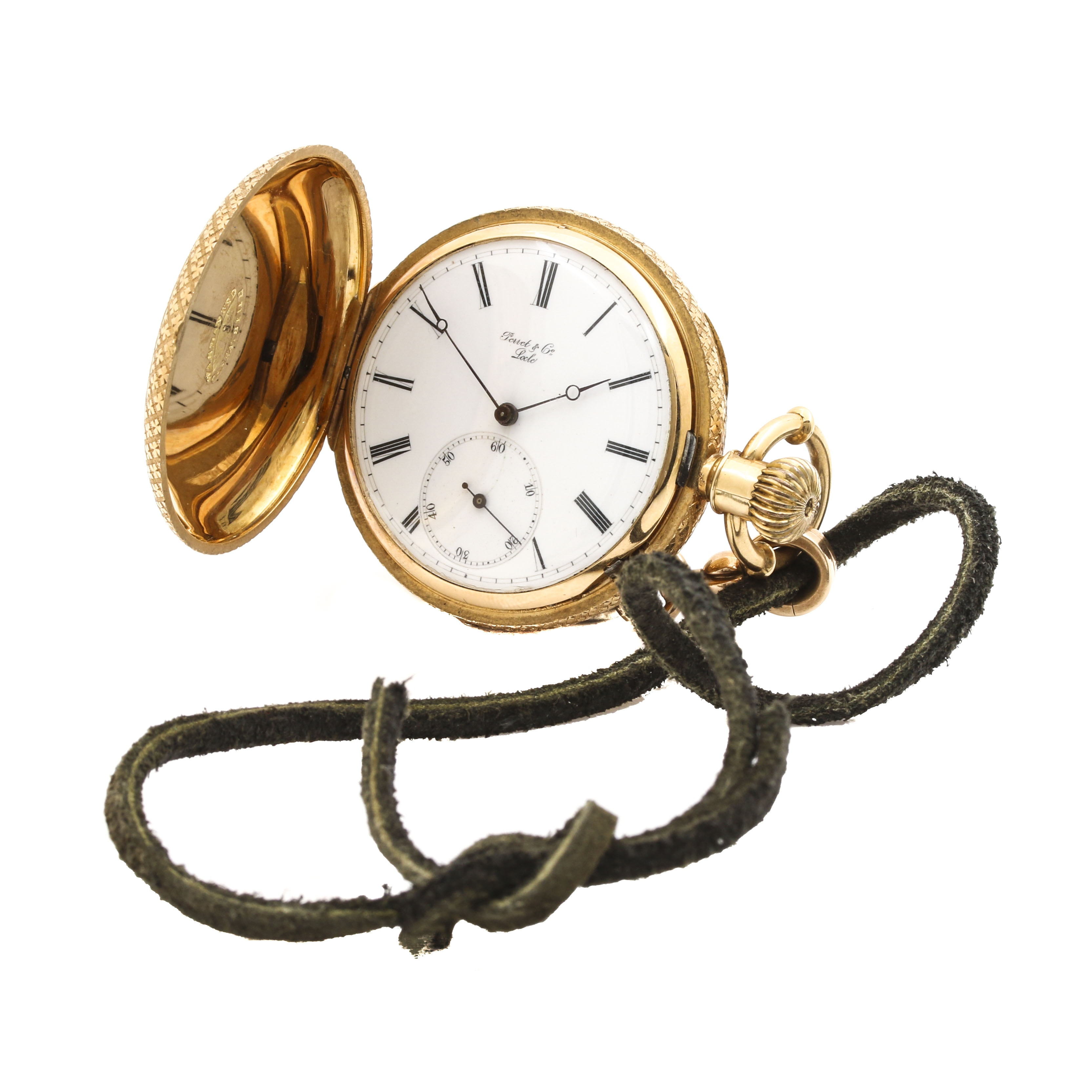 Vintage Perrit & Co 18K Yellow Gold Hunting Case Pocket Watch