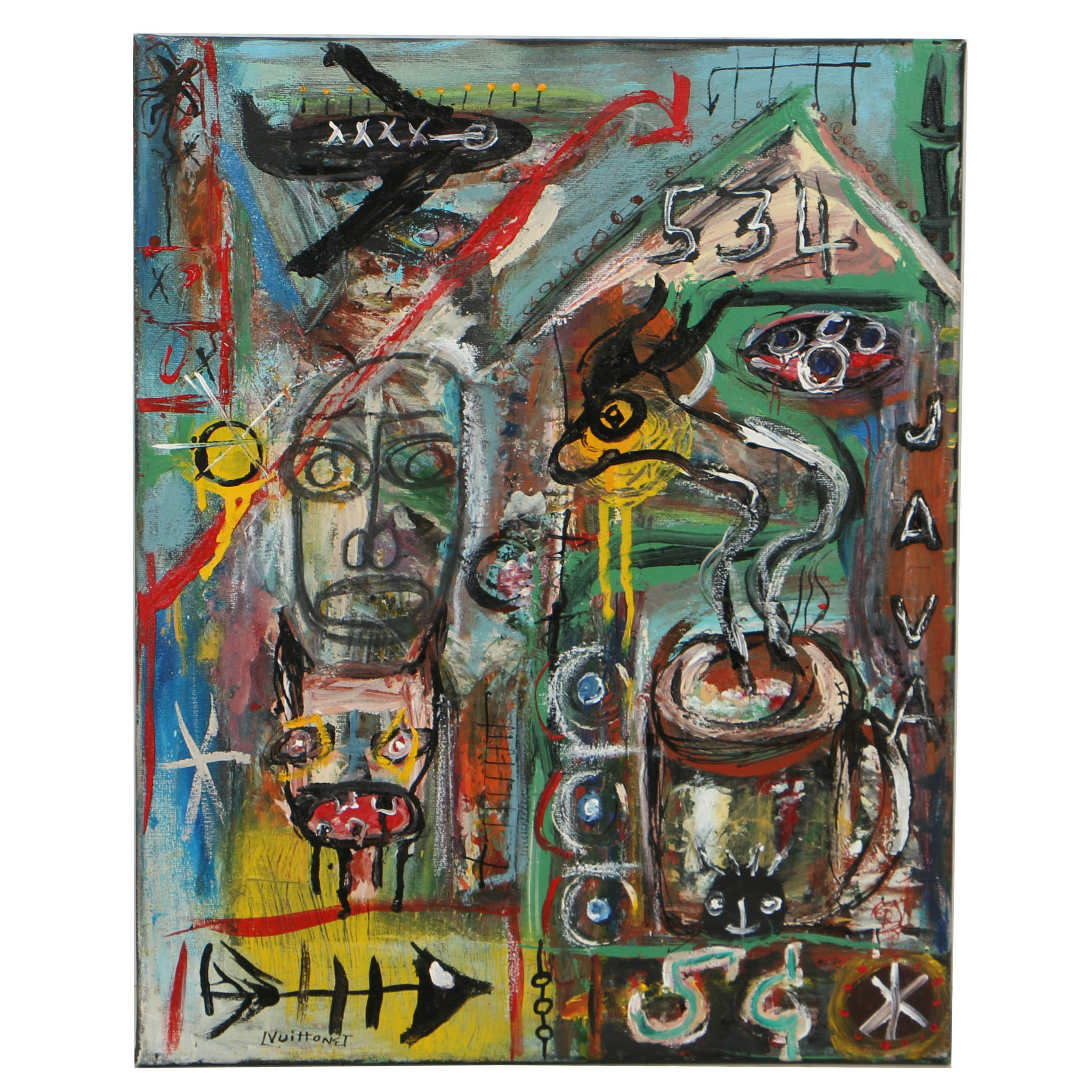 Louis Vuittonet Mixed Media Painting on Canvas of Abstract Composition