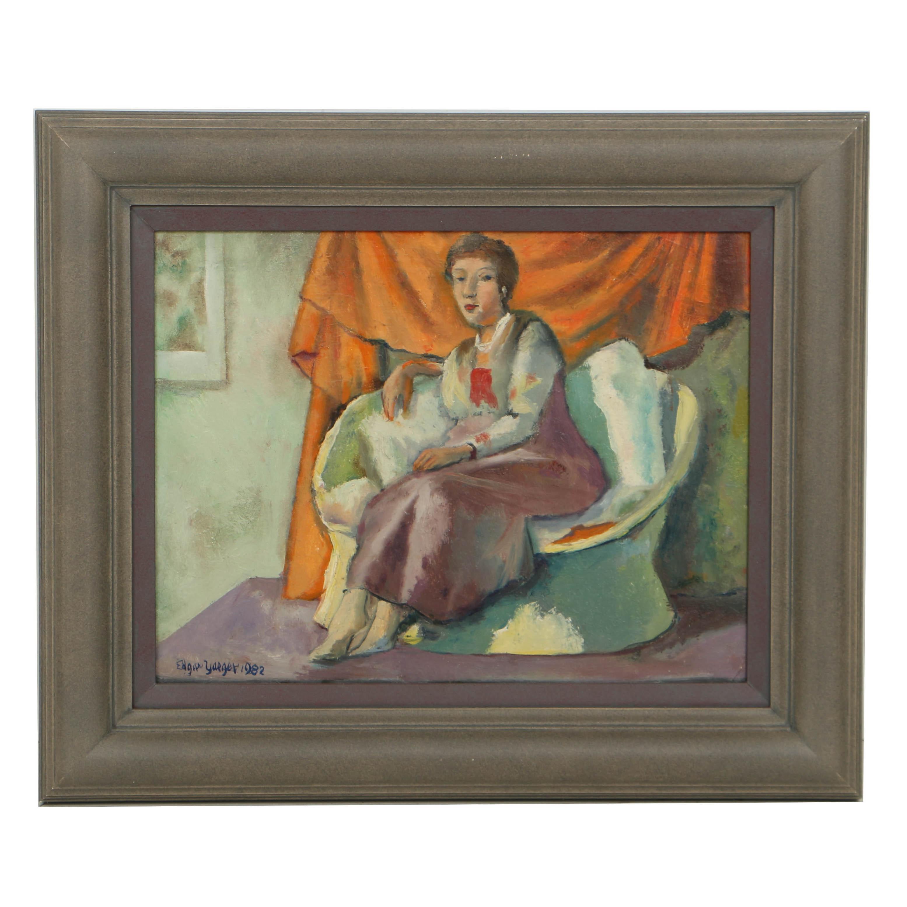 """Edgar Yaeger Oil Painting on Canvas """"Leona"""""""