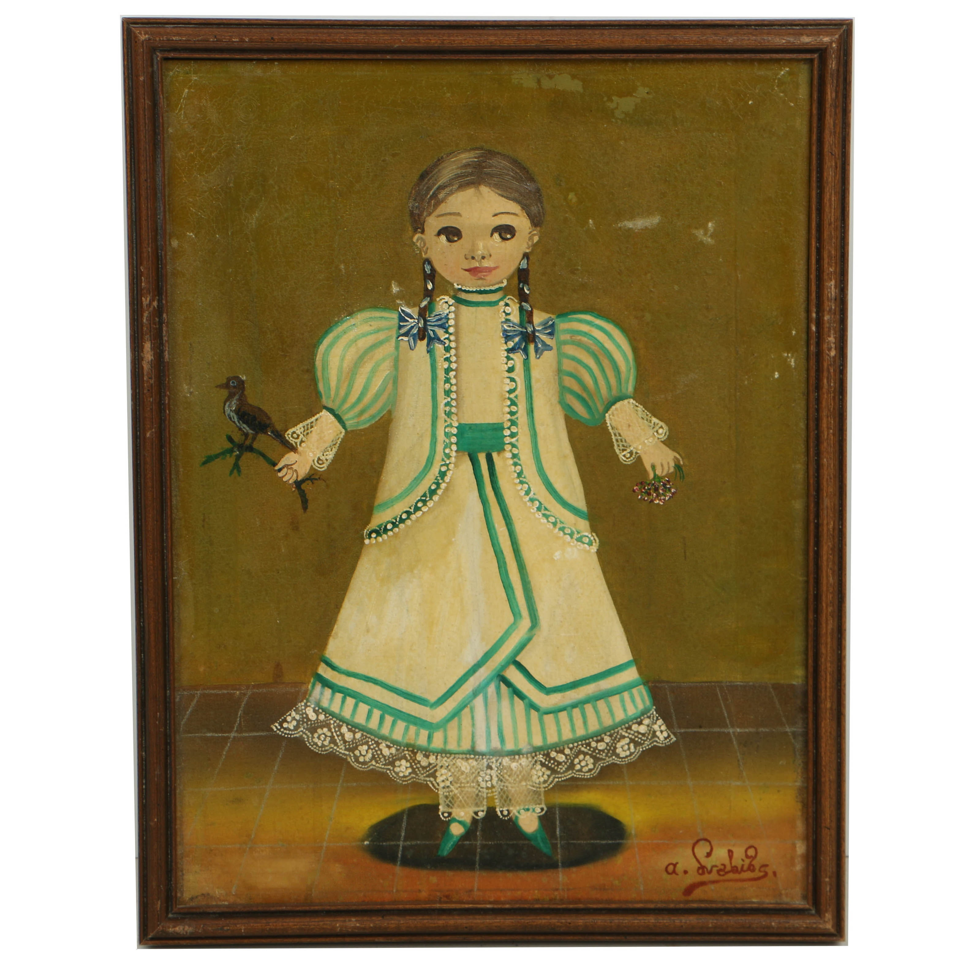 Agapito Labios Oil Painting on Canvas Girl in a Dress