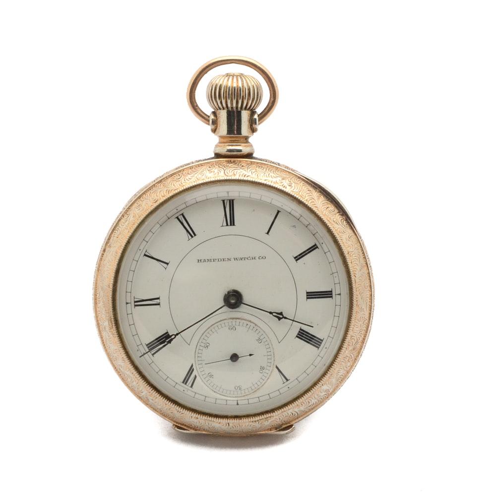 1899 Yellow Gold Plated Hampden Open Face Pocket Watch