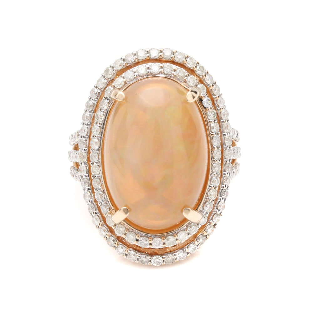 14K Yellow Gold Opal and 1.53 CTW Diamond Ring