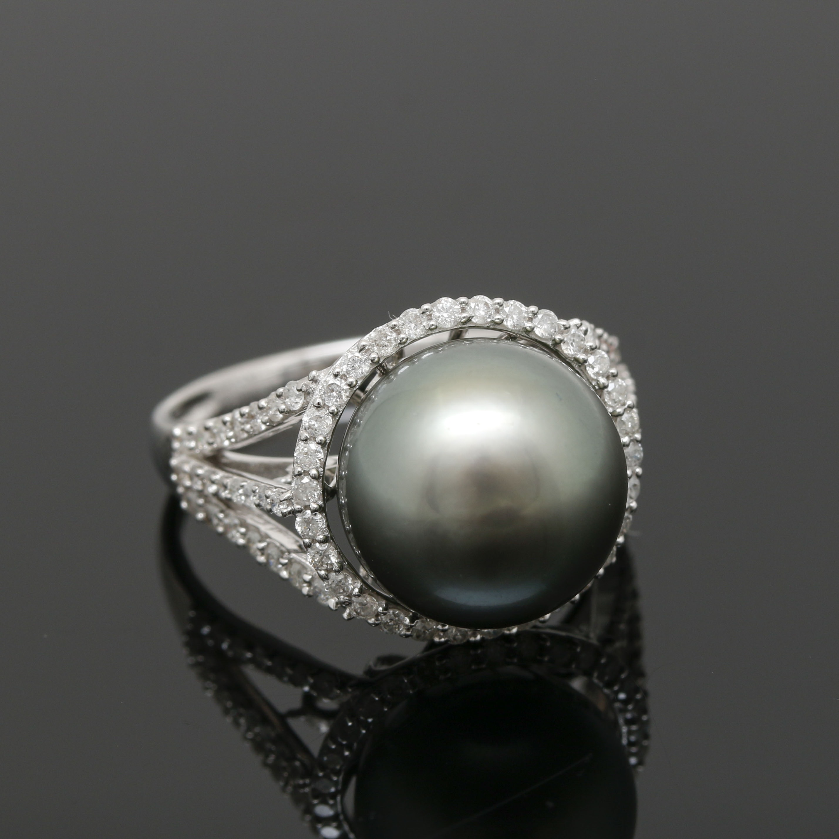 Orianne Collins 18K White Gold Tahitian Cultured Pearl and Diamond Ring