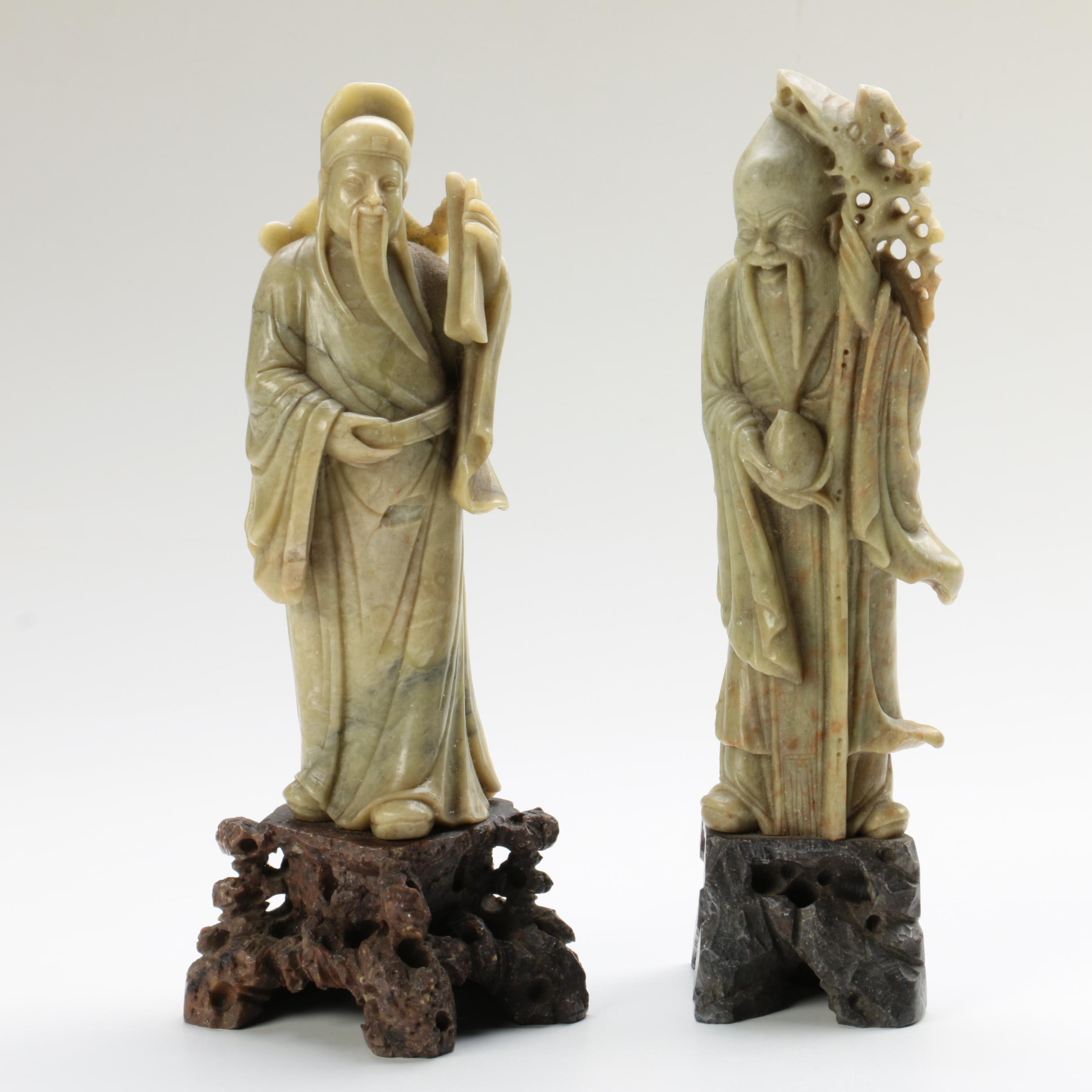 Chinese Soapstone Figurines of Gods of Longevity and Good Fortune