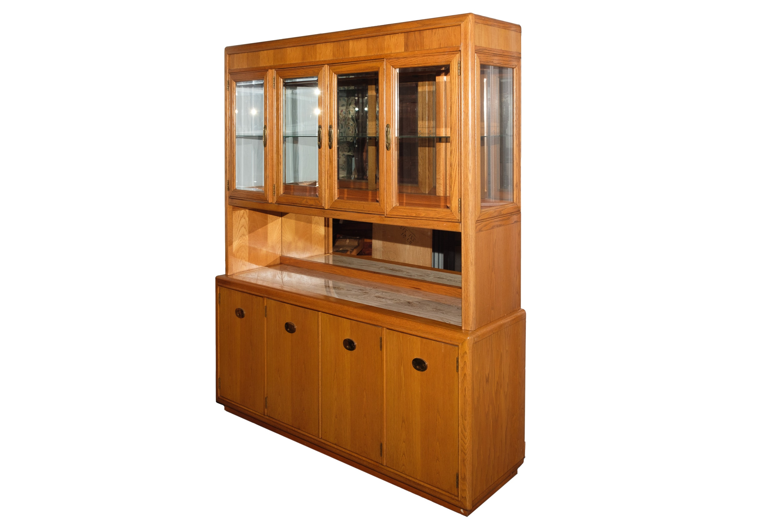 Contemporary Style Oak China Cabinet by Stanley