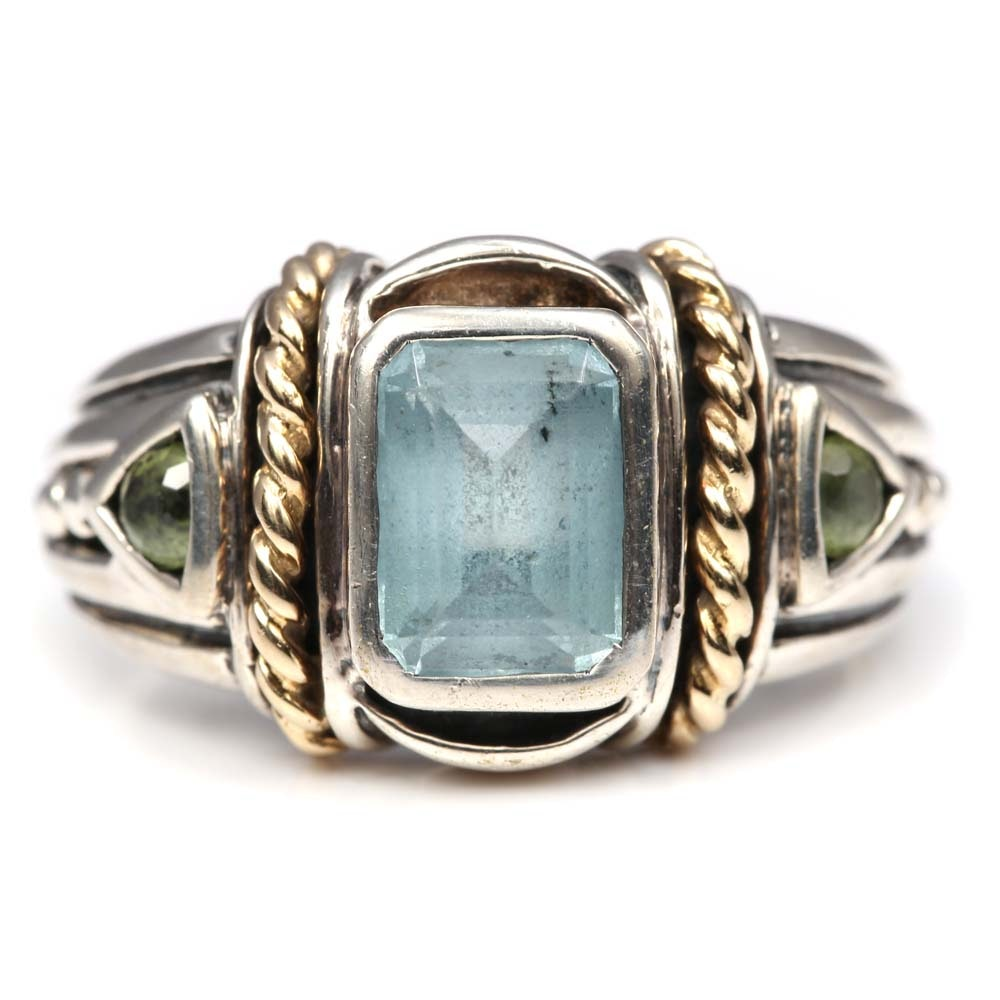 Benham Sterling Silver and 14K Yellow Gold Blue Topaz and Peridot Ring