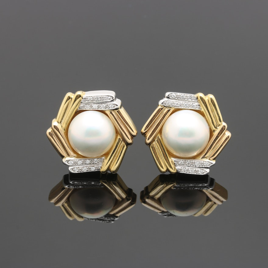 eec354970 18K Two Tone Mabe Pearl and Diamond Earrings   EBTH