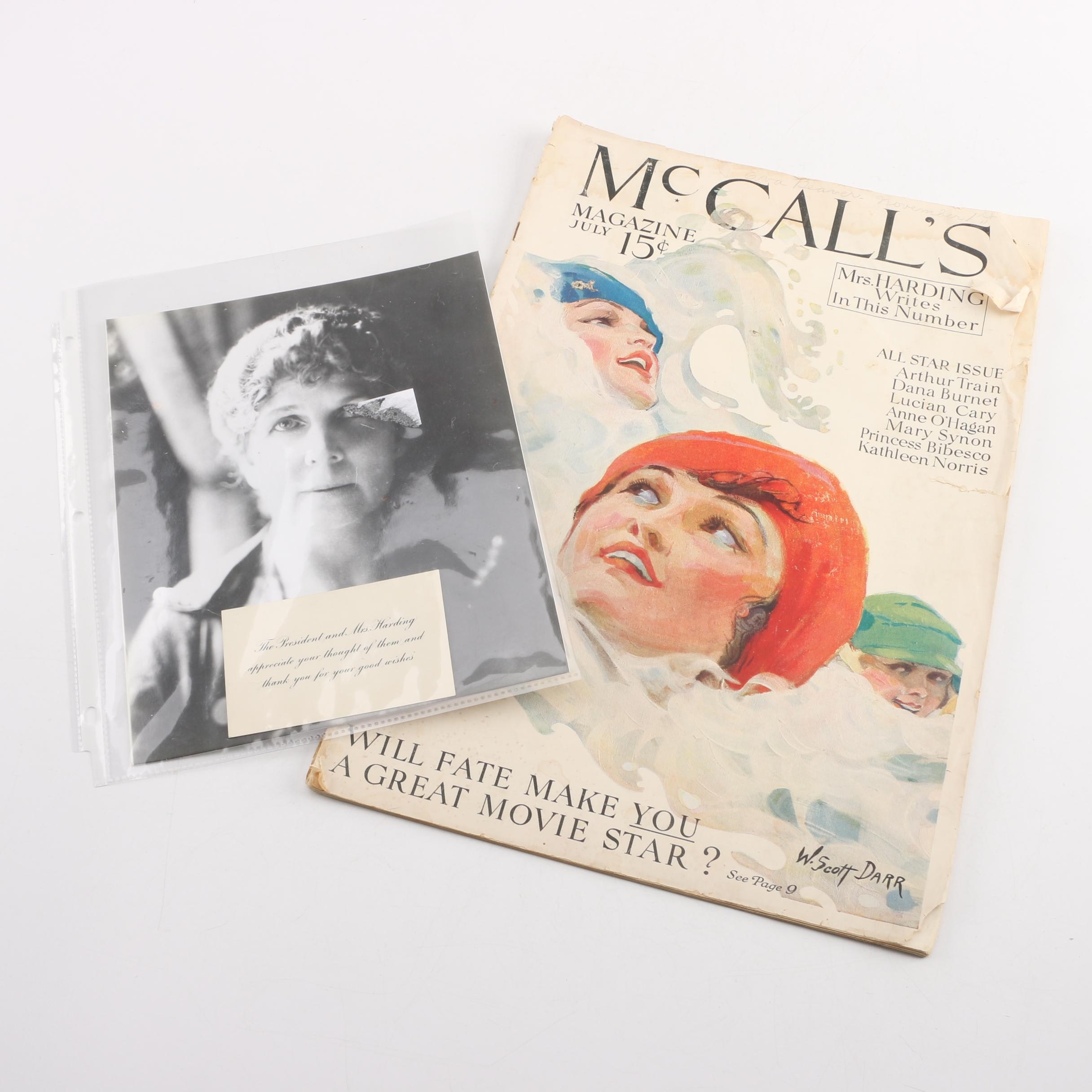 "Vintage Florence Harding Memorabilia Including 1921 ""McCall's"" Magazine"