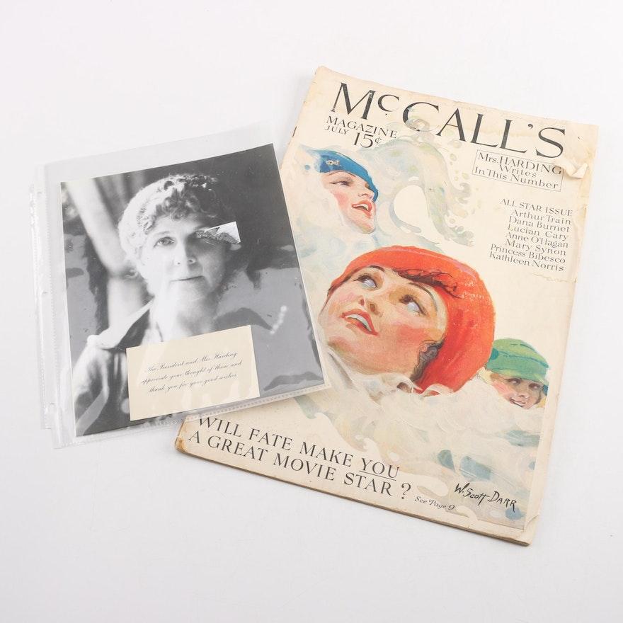 "Vintage Florence Harding Memorabilia Including 1921 ""McCall's"" Magazine"