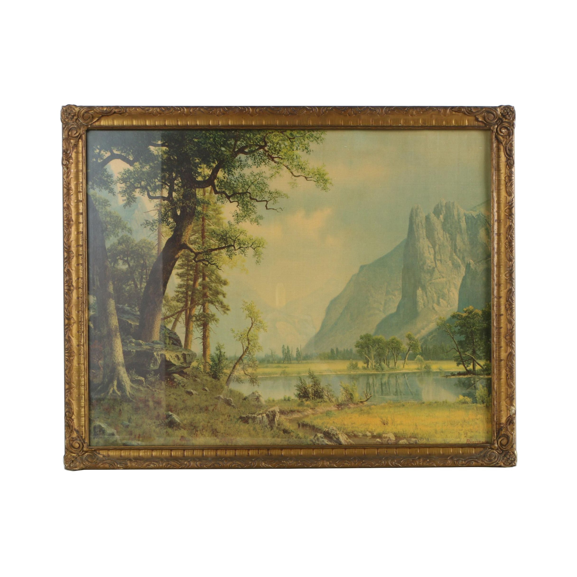 "Offset Lithograph After Albert Bierstadt ""Yosemite Valley"""