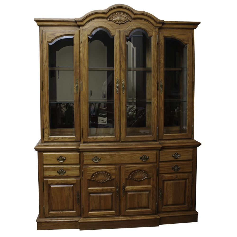 Vintage Broyhill Breakfront Oak Hutch and Cabinet
