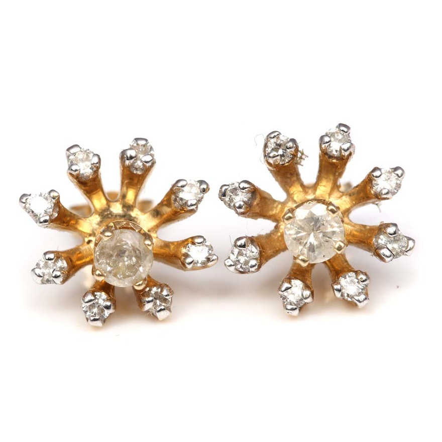 14k Yellow Gold Diamond Stud Earrings And Earring Jackets