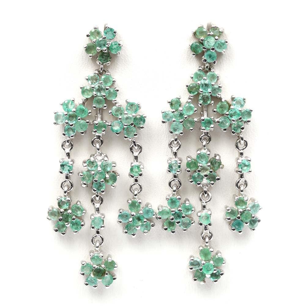 Sterling Silver Emerald Dangle Flower Earrings