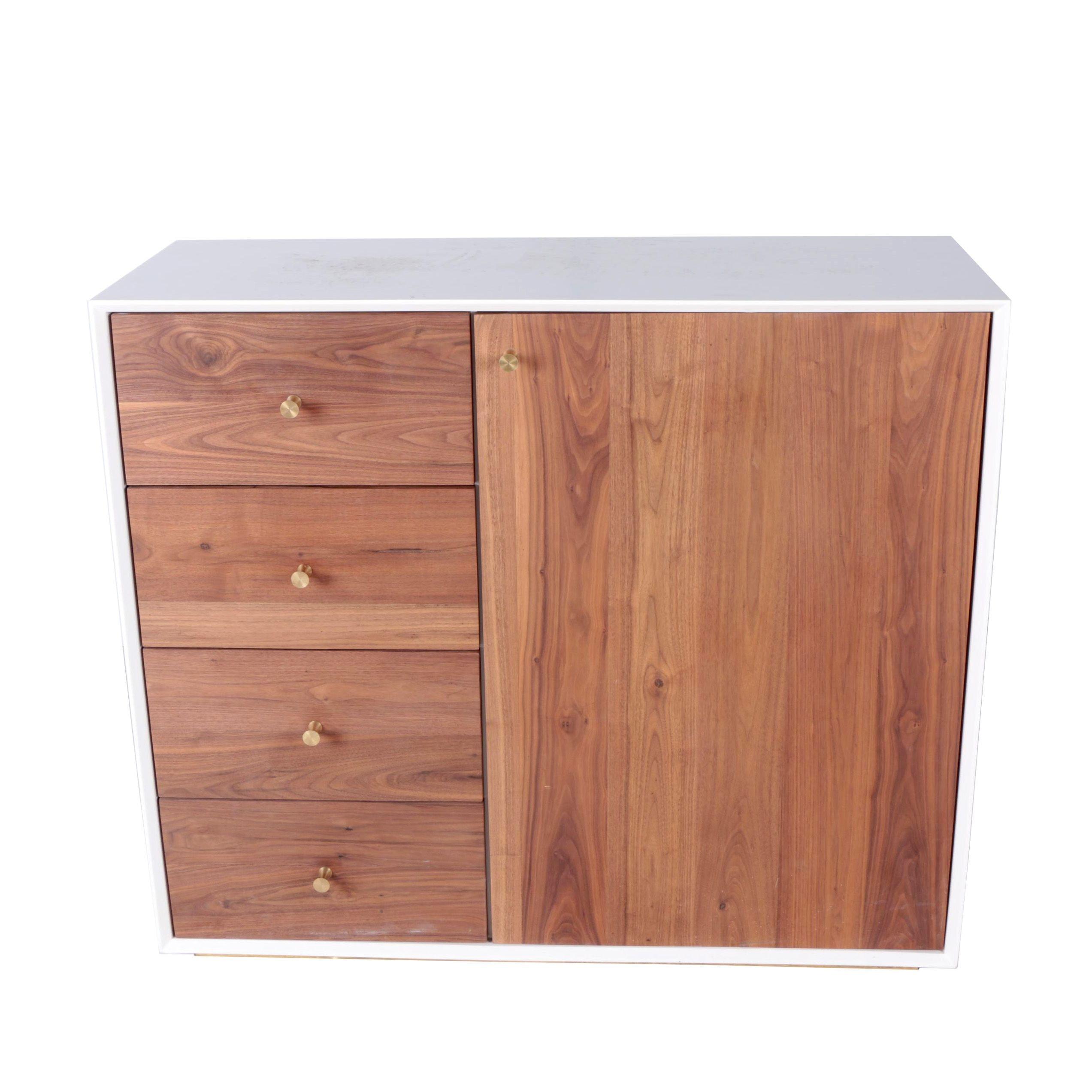 Modern Style Walnut and Melamine Cabinet