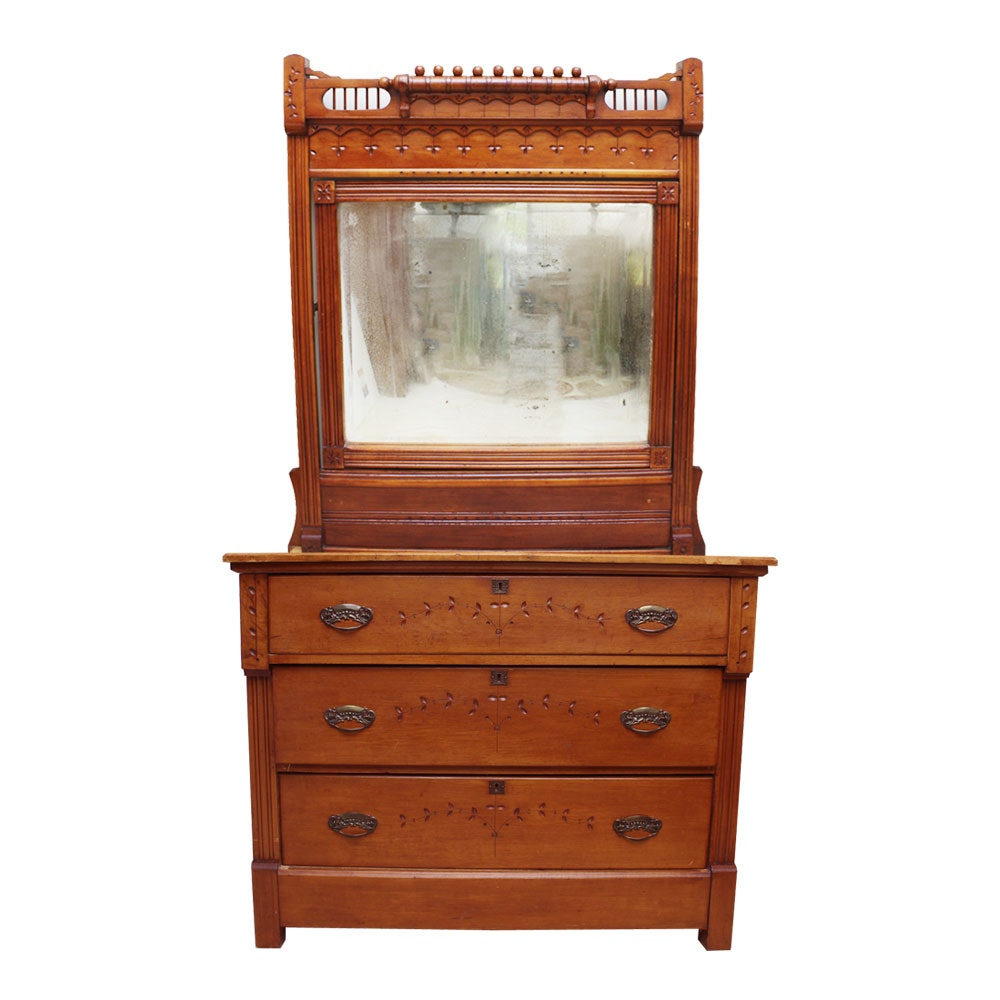 Antique Eastlake Sycamore Dresser and Mirror