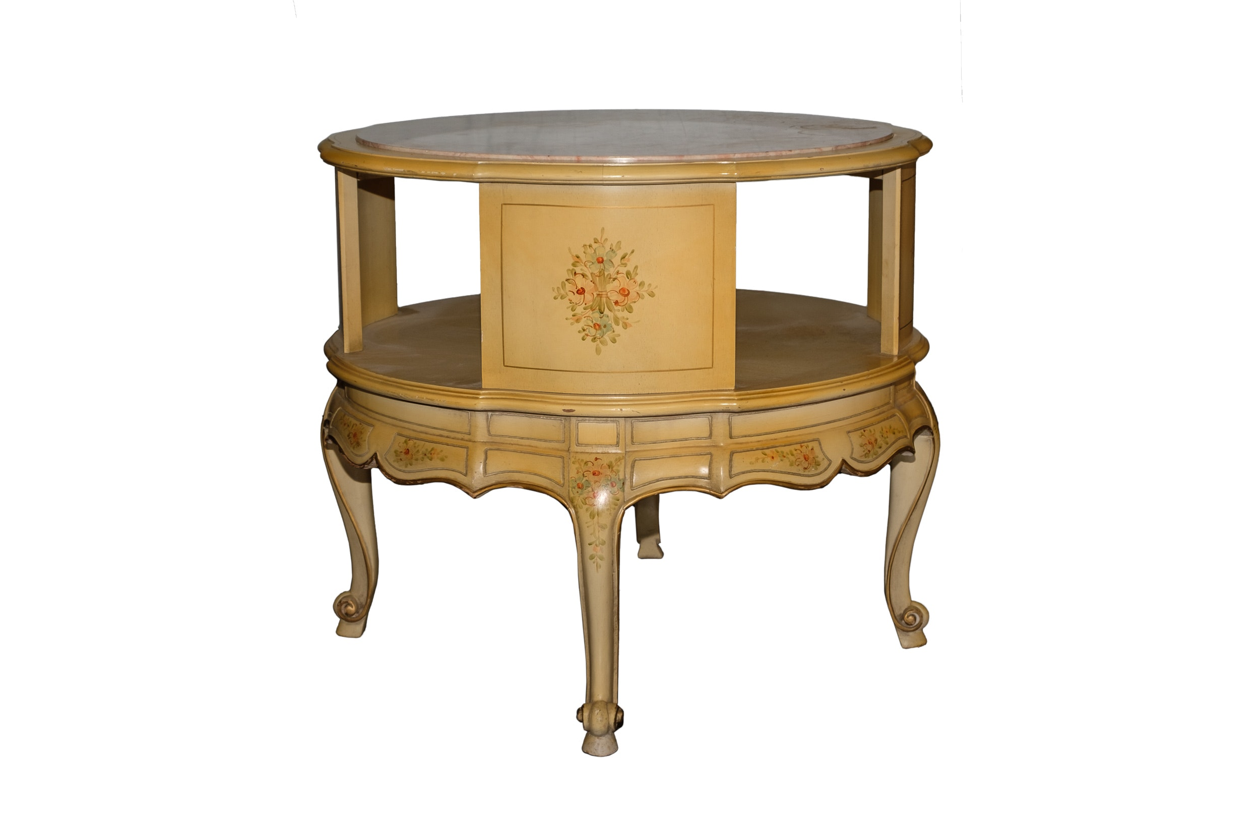 Louis XV Style Stone Top Accent Table