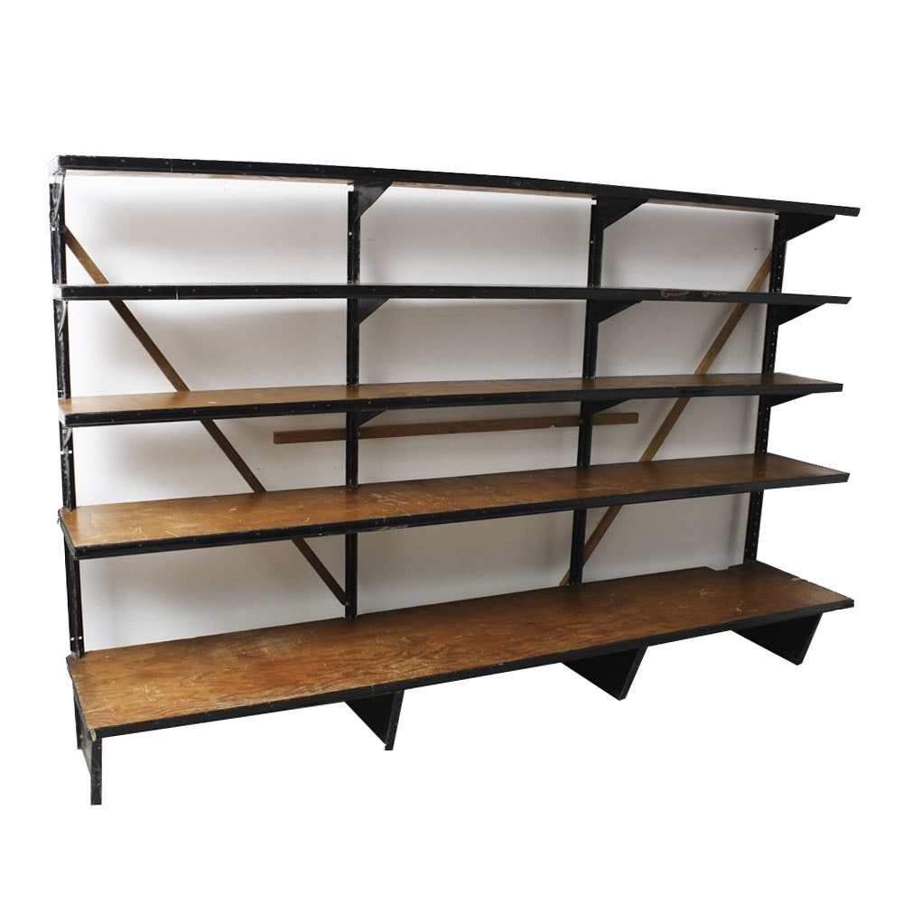 Vintage Garage Wood and Metal Open Shelving Unit with Removable Shelves