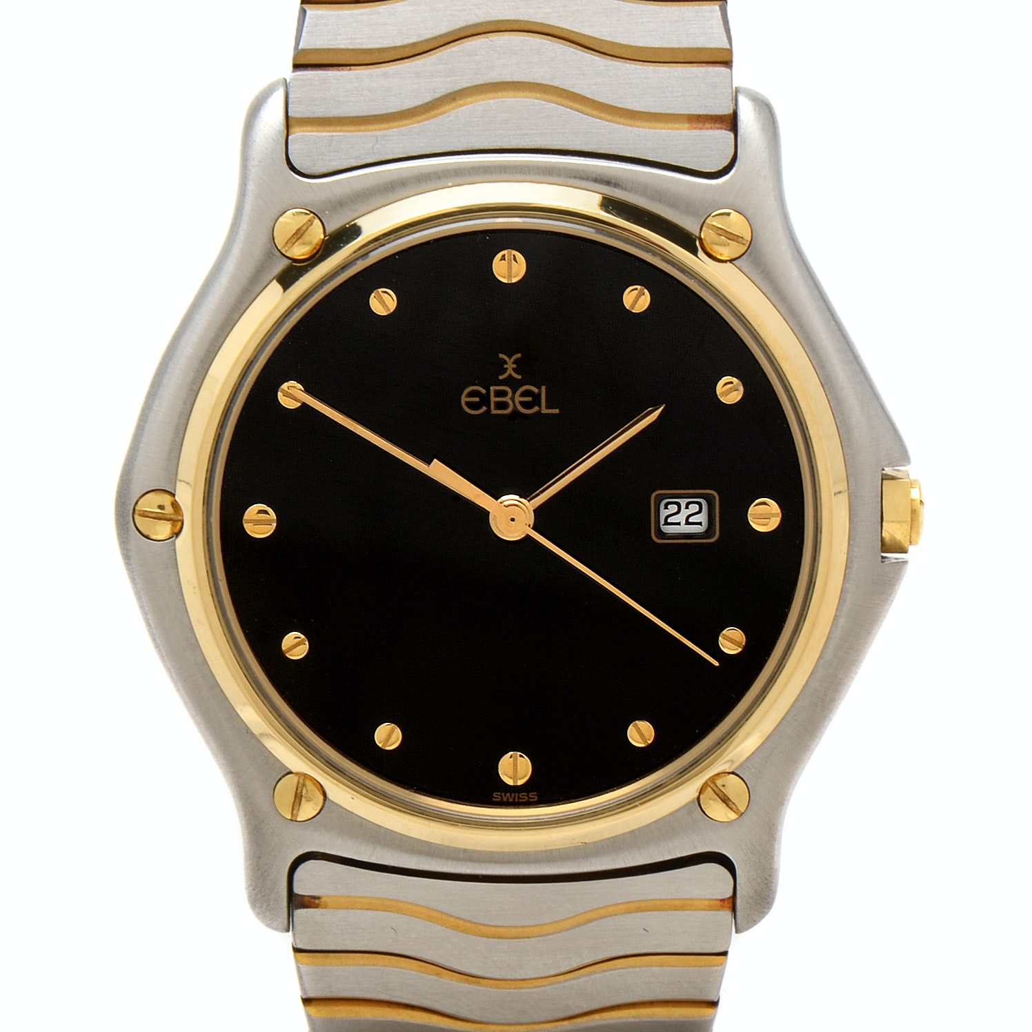 Ebel Classic Wave 18K Gold and Steel Black 35MM Quartz Watch