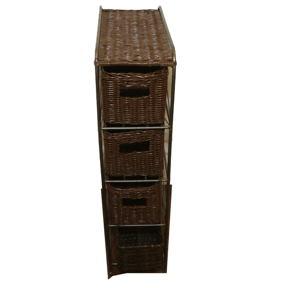 Metal and Woven Wicker Storage Cabinet